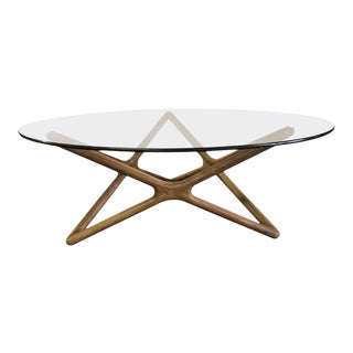 Danish Sculptural Teak and Round Glass Coffee Cocktail Table For Sale