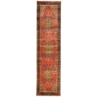 """Handmade Indian Luxury Runner Rug - 3' x 11'8"""" For Sale"""