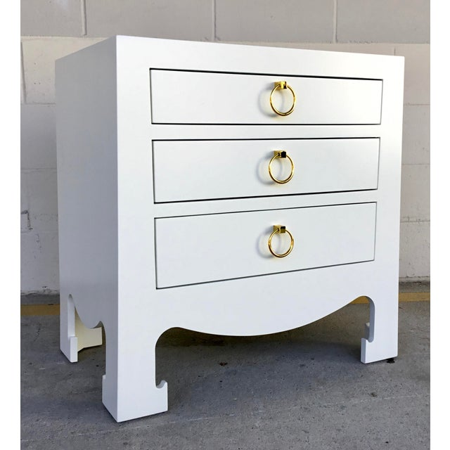 Metal Bungalow 5 Modern White Lacquer Finished Three Drawer Side Table For Sale - Image 7 of 7