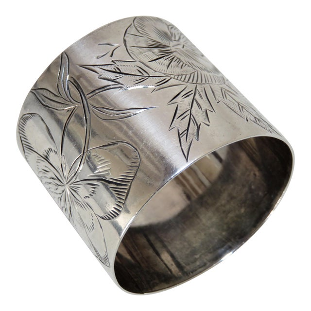 19th Century Antique Sterling Silver Napkin Ring For Sale