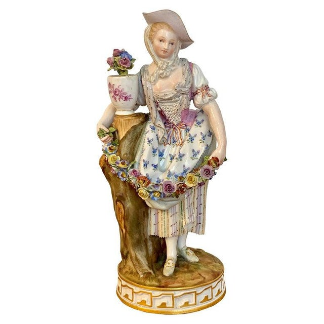 Fine Late 19th Century Meissen Figurine of a Lady Gardener For Sale - Image 13 of 13