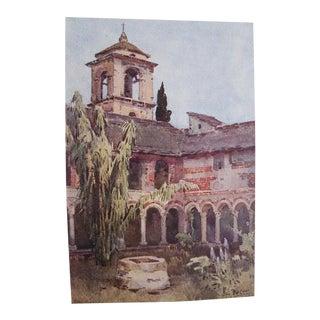 1905 Original Italian Print - Italian Travel Colour Plate - Il Chiostra DI Piona, Lago DI Como For Sale