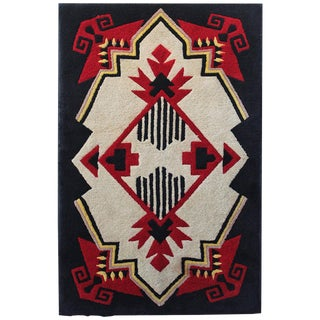 1930s Mounted Geometric Hand-Hooked Rug For Sale