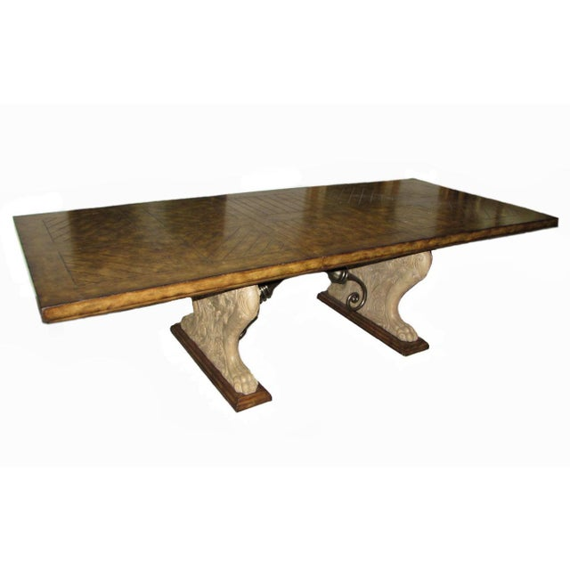 Rustic Matiland Smith Trestle-Base Parquet Top Dining Table For Sale - Image 13 of 13
