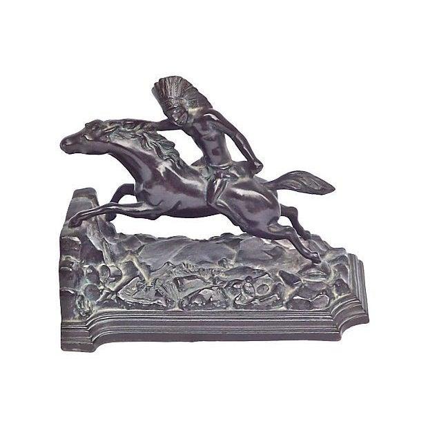 Vintage Bronze Native American Horseman Bookend - Image 1 of 2