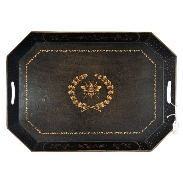 Chinoiserie Bee Motif Metal Serving Tray - Image 7 of 7