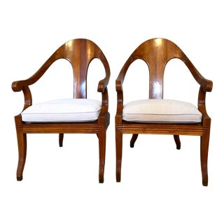 Mid Century Era Elegant Italian Spoon Back Cane Seat Chairs—a Pair For Sale