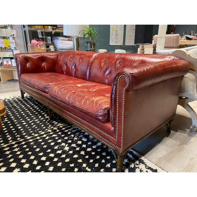 Vintage Tufted Leather Chesterfield Sofa For Sale - Image 4 of 12
