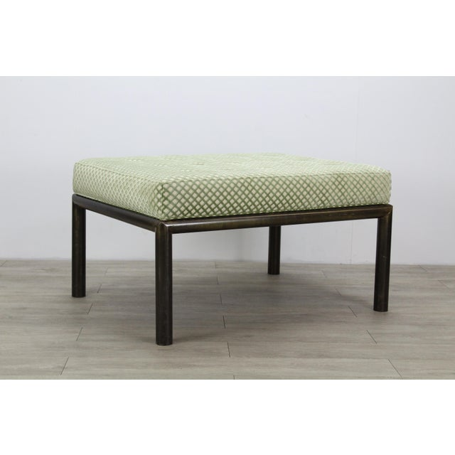 French Mastercraft Solid Brass Ottoman With Chenille Textile For Sale - Image 3 of 7
