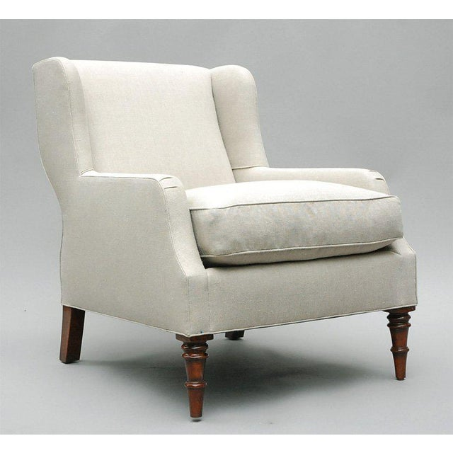 """Selby"" by Lee Stanton armchair upholstered in Belgian linen or custom fabric. Short wing chair upholstered in Belgium..."