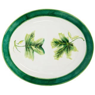 Large Oval Italian Hand-Painted Platter For Sale