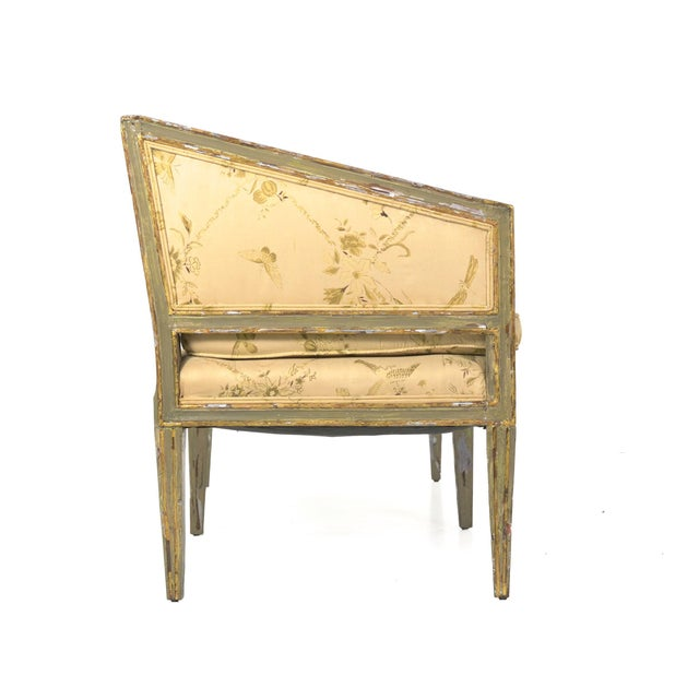 Italian Neoclassical Gray Polychrome Painted Settee Sofa Canape, Early 19th Century For Sale - Image 4 of 13