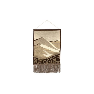 Mid-Century Woven Wall Hanging Fiber Art — Abstract Landscape — Earthtones For Sale
