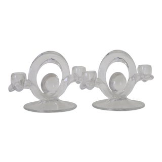 Clear Glass Candle Holders - A Pair