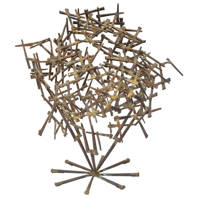 Vintage Brutalist Abstract Nail Tabletop Sculpture For Sale - Image 11 of 11