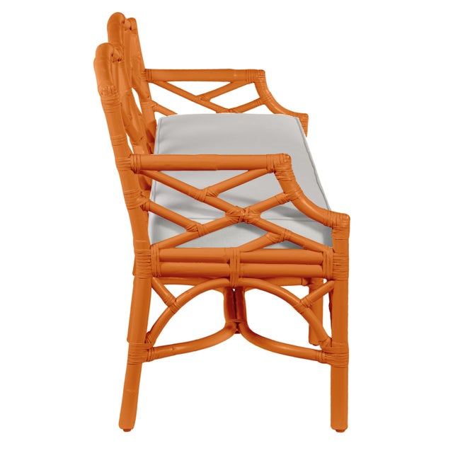 David Francis Chippendale Bench - Orange For Sale - Image 4 of 6