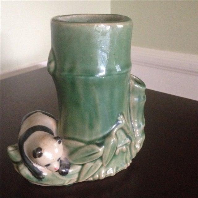 Asian Mid-Century Faux Bamboo Ceramic Panda Vase For Sale - Image 3 of 11