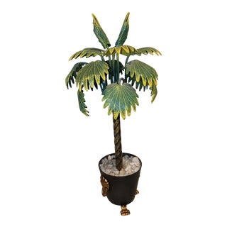 Hand Painted Tole Palm Tree in a Neoclassical Pot With Lion Feet For Sale