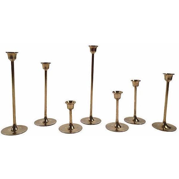 Mid-Century Brass Candlesticks - Set of 7 - Image 1 of 4