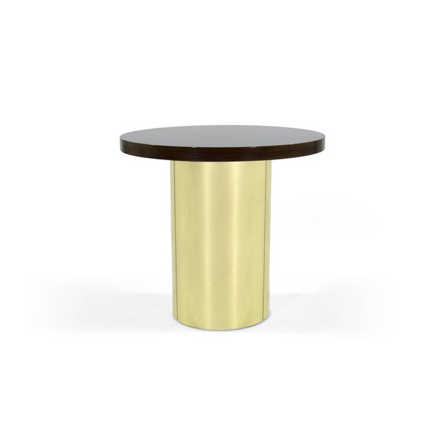 Rare brass pedestal, occasional table by Curtis Jere, signed. Walnut top fully restored.