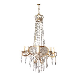 Antique, 1900s Chandelier Crystal Lustre Brass Ceiling Lamp Rarity Neoclassical For Sale