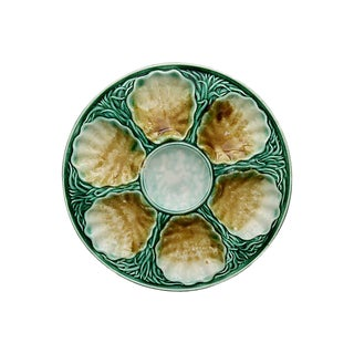 Mid-Century French Majolica Oyster Plate For Sale