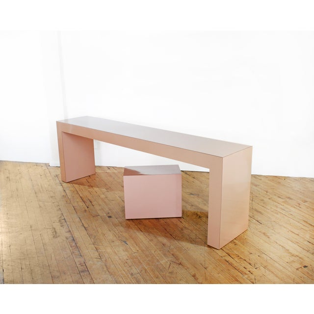 1980s Post Modern Parson's Table- Laminate Console Table and Plinth For Sale - Image 5 of 5