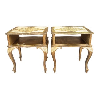 Vintage Italian Florentine Handpainted & Gilt Side Tables- a Pair For Sale