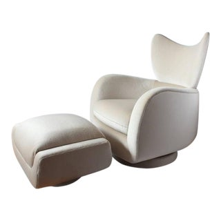 1970s Vintage Vladimir Kagan Swivel Lounge Mohair Chair and Ottoman