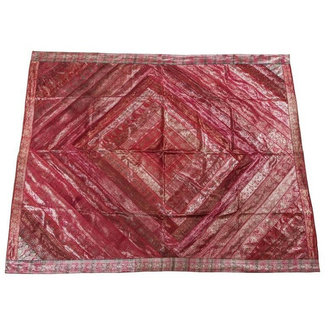 Indian Silk Sari Tapestry Quilt Patchwork Bedcover Fuchsia Color For Sale - Image 10 of 10