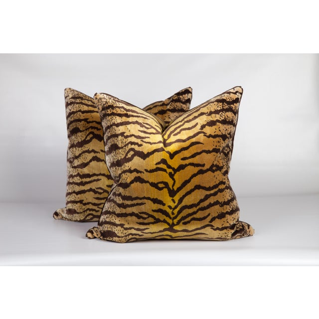 2010s Velvet and Silk Tiger Pattern Pillows, a Pair For Sale - Image 5 of 5
