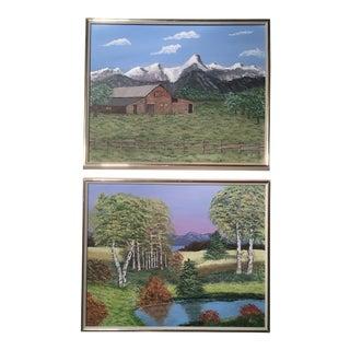 Primitive Mid-Century Landscape Paintings - A Pair