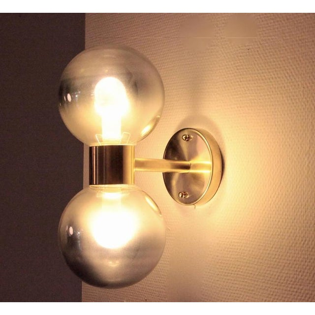 Excellent 1 of 4 Stilnovo Style Brass and Mercury Glass Wall Lamps ...