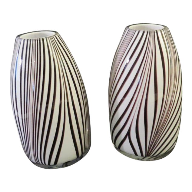 Murano Style Art Glass Pulled Feather Design Black And White Vases