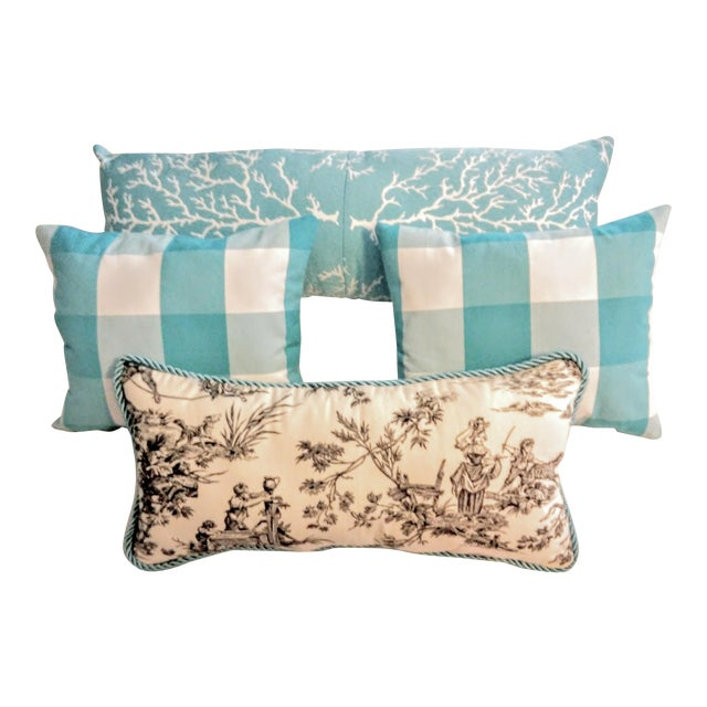"""Check the Toile and Coral!"" Pillows - Set of 4 - Image 1 of 7"