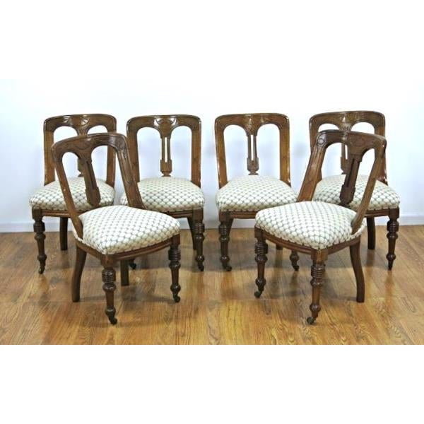 Brown Regency Style Mahogany Dining Chairs - Set of 6 For Sale - Image 8 of 8