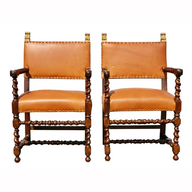 Pair of Italian Baroque Walnut Armchairs For Sale In Boston - Image 6 of 13