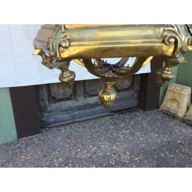 Gold Antique Brass English Hall Lantern For Sale - Image 8 of 10