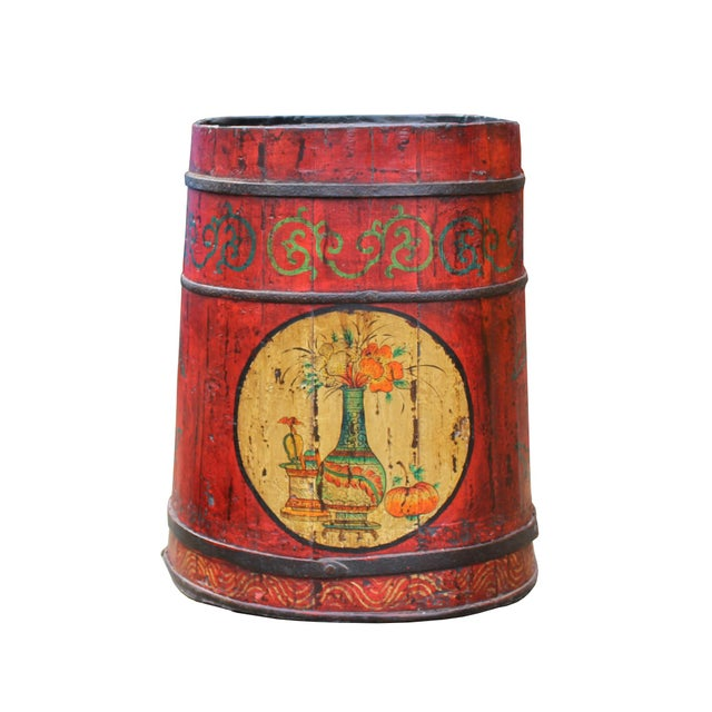 Elm Distressed Chinese Tibetan Barrel Shape Red Floral Bucket Wood Container For Sale - Image 7 of 9