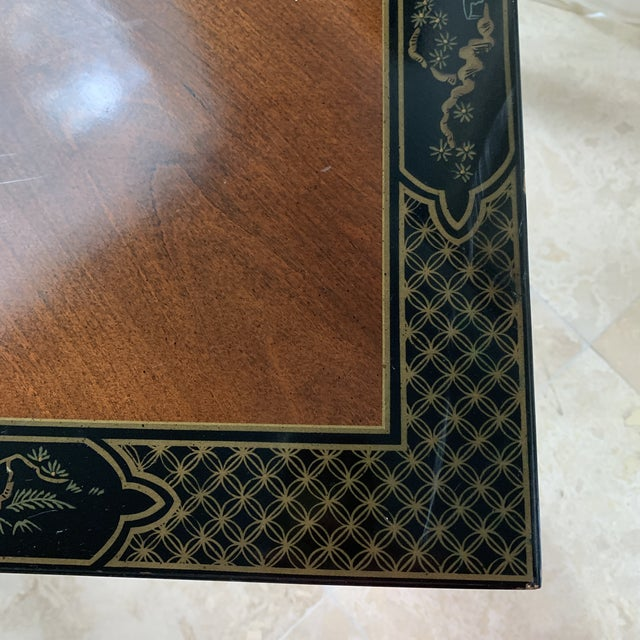Lacquer Vintage Drexel Heritage Et Cetera Chinoiserie Lacquer End Side Squared Table For Sale - Image 7 of 13