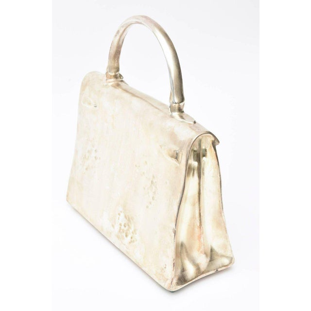 Christian Maas Silvered Bronze Limited Edition French Christian Maas Birkin Bag Sculpture For Sale - Image 4 of 11