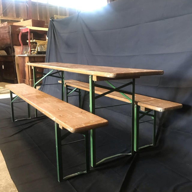 Vintage Collapsible German Beer Garden Table and Bench - a Set For Sale - Image 4 of 7