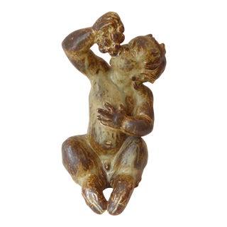Vintage Royal Copenhagen Danish Stoneware Sculpture of Faun For Sale
