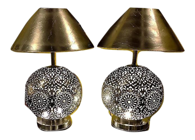 Great White Brass Moroccan Table Lamps   A Pair