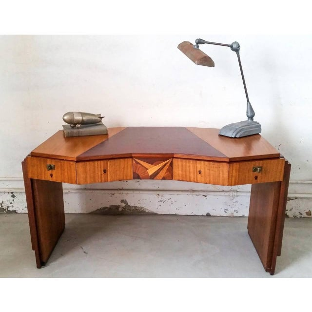 1920s 1920s Saddier French Art Deco Gull Wing Desk For Sale - Image 5 of 11