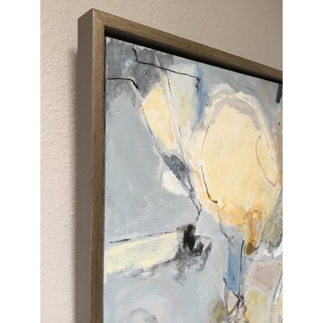 Abstract Painting in Grey, Blue, and Ivory - Image 5 of 8