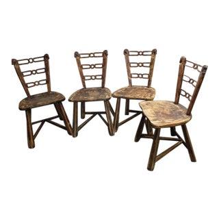1950s Vintage Romweber Viking Oak Horse Head Chairs - Set of 4 For Sale
