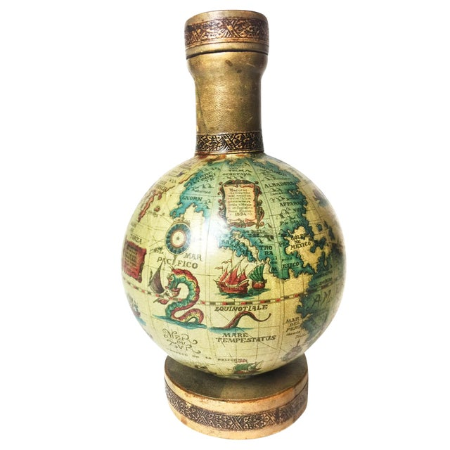 Vintage Mid Century World Globe Map Glass Decanter - Image 1 of 4