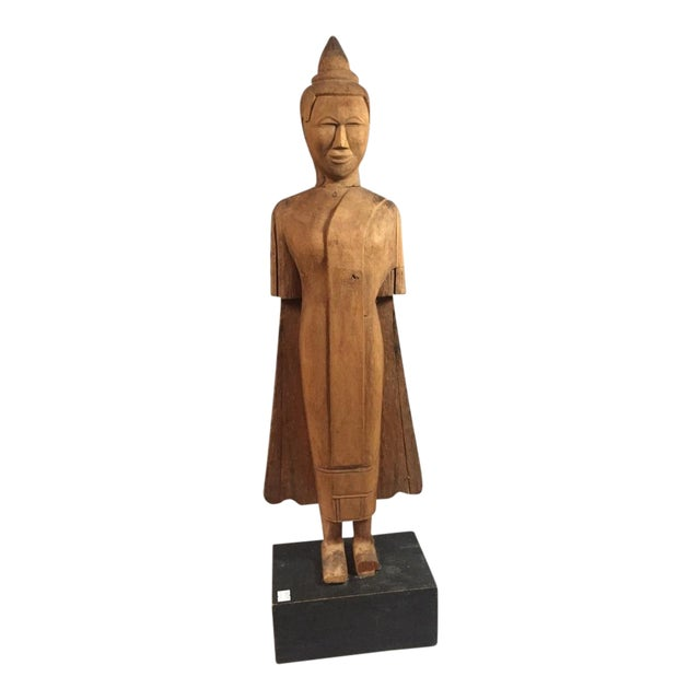 Asian Wooden Standing Figure on Base For Sale
