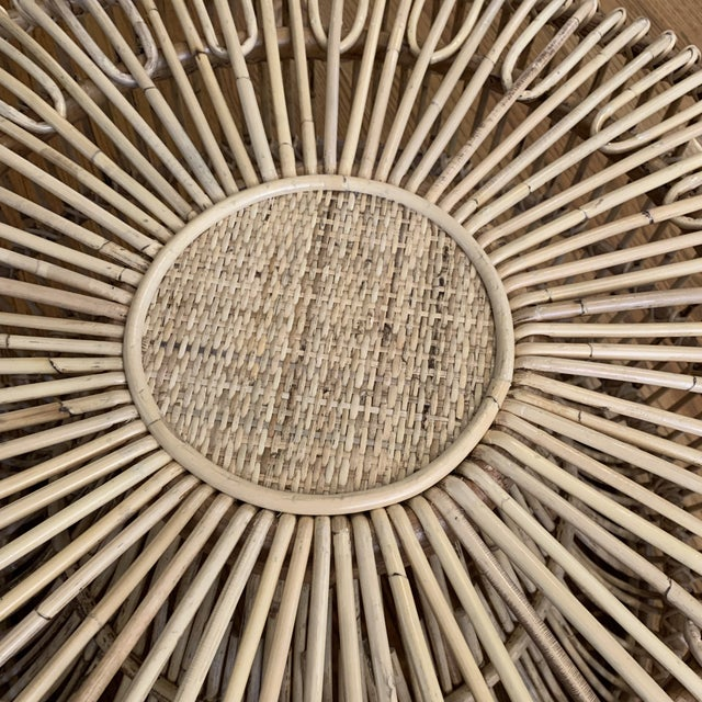 Franco Albini Franco Alibini Style Round Rattan Ottoman Side Table For Sale - Image 4 of 12